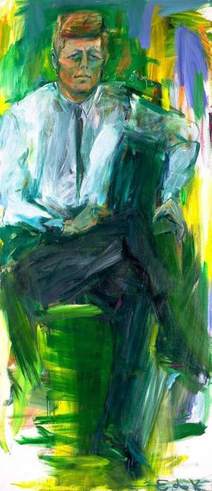 Portrait-of-JFK-Elaine-de-Kooning-1963