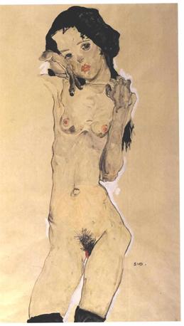 08-Schiele_-_Schwarzhaariger_Madchenakt_stehend_-_1910