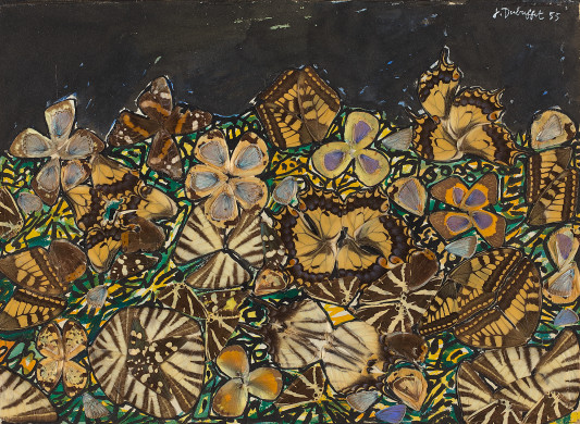 1955+Bib+Trompette's+Garden+butterfly+wings,+gouache+&+watercolour+on+paper+22.1+x+32.1+cm+©+2011+Artists+Rights+Society+(ARS),+New+York