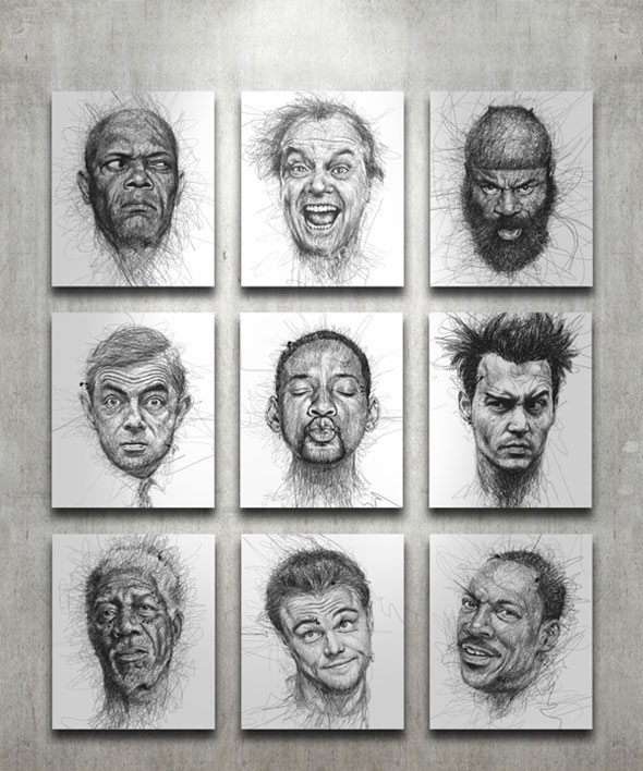 1-Faces-Vince-Low-Gribouillage-Portraits-Stars-Dessins