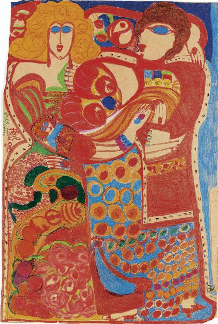 Aloïse Corbaz, Bal tango – Hôtel Rosière (recto), cinquième période 1960-1963. Craie grasse et crayon de couleur sur papier ; 150,5 x 101 cm. Donation Étienne et Jacqueline Porret-Forel. Kunstmuseum Solothurn. Photo : Claudia Lenenberger © Association Aloïse, 2015.