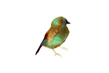 """Lionel Sabatté, """"Petit oiseau des îles"""" du 23/08/2014 Solution à base de fer et bronze oxydé sur papier Arches 31 x 41 cm."""