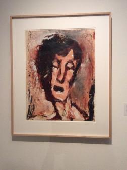 """Louis Soutter, """"VisaGE DE FACE AUX YEUX FERMéS"""", SANS DATE 1930-42, huile sur papier"""