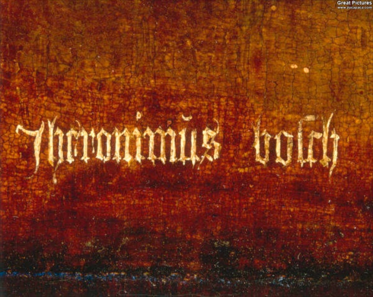 Bosch' signature spelling Jheronimǔs boſch from The Hermit Saints triptych