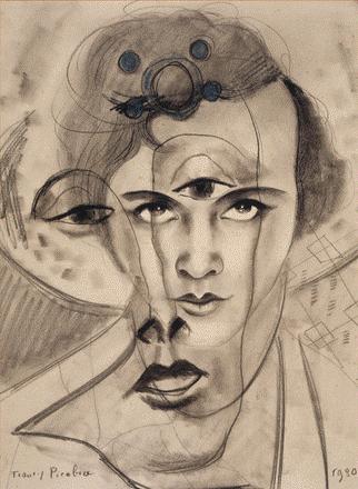 """Francis Picabia, """"Tête de femme"""" (olga Picabia-Mohler), 1930, dessin au charbon."""