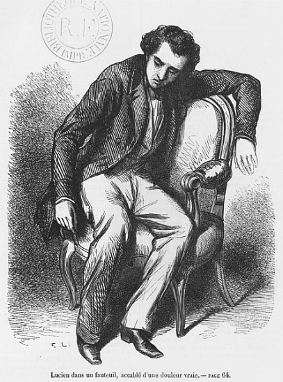XIR346542 Lucien de Rubempre overwhelmed with sorrow, illustration from 'Les Illusions perdues' by Honore de Balzac (engraving) (b/w photo) by French School, (19th century); Bibliotheque Nationale, Paris, France; (add. info.: Lucien Chardon accable de douleur; 'Lost Illusions' by Balzac (1799-1850); part of La Comedie Humaine; written between 1837 and 1843; lives in Angouleme; hopes to make his mark as a poet in Paris; E.L., artist Emile Lassalle (1813-71) ?; B.N.Z. 7765); Giraudon; French, out of copyright