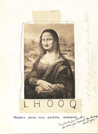 """""""Mon original n'est pas arrivé à temps et, afin de ne pas retarder indûment l'impression de 391, Picabia a dessiné lui-même la moustache sur la Mona Lisa mais a oublié la barbiche."""" MD"""