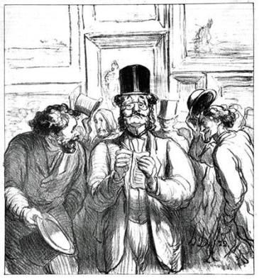 """Honoré Daumier, """"La promenade du critique influent"""", 1865"""