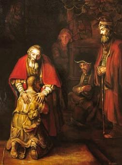 """Rembrandt, """"Le retour du fils prodigue"""", 1667."""