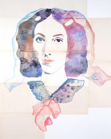 Fanny Jenisch , 2018 Aquarelle sur papier ancien, 100 x 80 cm © Ulla von Brandenburg.
