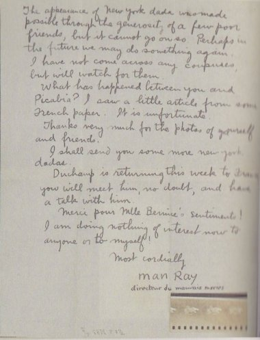 Man Ray - Lettre à Tristan Tzara, New York, 18 juin 1921.