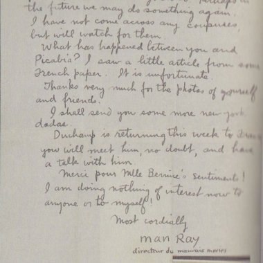 Man Ray - Lettre à Tristan Tzara, New York, 18 juin 1921.