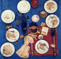"""""""La table bleue"""", 1963, Galerie J, collage d'objets sur panneau de bois (100x100x35 cm)"""