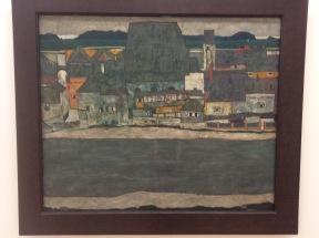 Egon Schiele, maisons sur le fleuve II, 1914