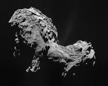 La comète 67P/Tchourioumov-Guérassimenko photographiée par la caméra NAVCAM de Rosetta.